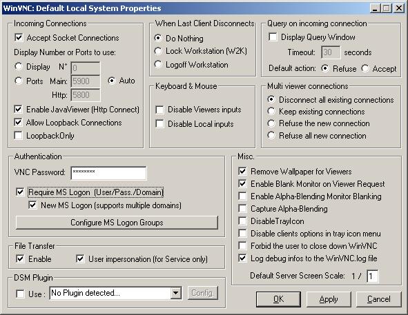 Admin Properties dialog